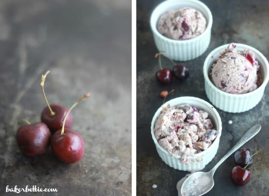 Left side photo: fresh cherries, right side photo: Drunken Cherry Coconut Ice Cream in ramekins