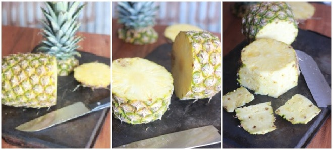 Collage of photos: left is cut pineapple, middle is closeup of cut pineapple, right is pineapple without skin