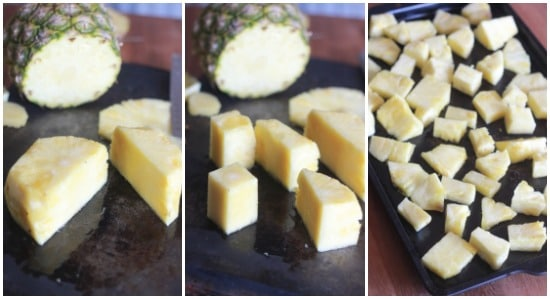 Collage of photos: left is large chunked pineapple, middle is medium chunked pineapple, right is small chunked pineapple