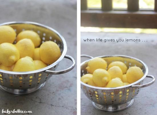 Left side photo: lemons in strainer, right side photo: another angle of lemons in strainer