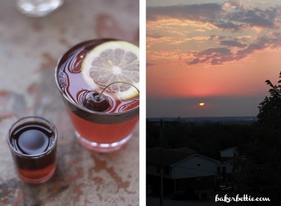 Left side photo is the spiced rum cherry lemonade, right side is sunset picture