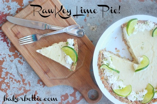 """Slice of Key Lime Cashew Cream Pie with lime slice on top with fork with the text """"Raw Key Lime Pie!"""""""