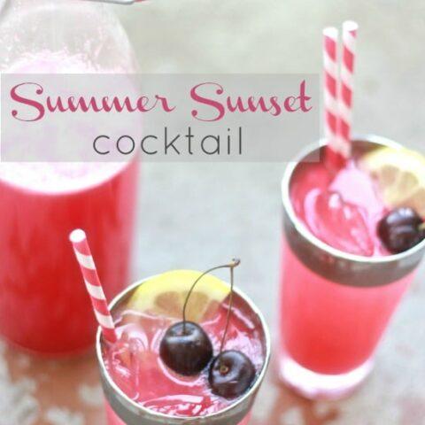 Spiced Rum Cherry Lemonade in glasses