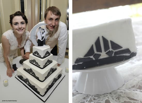 Left side photo is my husband and I on our wedding with our cake, right side photo is our cake topper after being in the freezer for a year