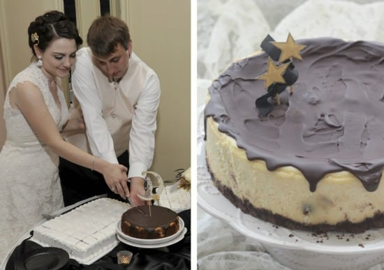 Left side photo is a wedding photo of my husband and I cutting a cheesecake, right side photo is the Chocolate Chip Cheesecake on a cake stand