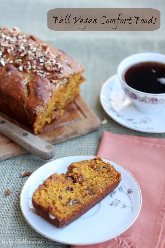 Pumpkin Pecan Bread with Orange Cardamom Glaze slice on a plate