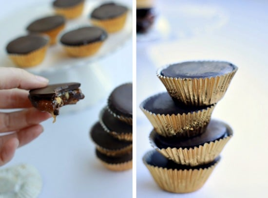 Left side photo is a Dark Chocolate Turtle with Smoked Almonds with a bite taken out, right side photo are the turtles all stacked up