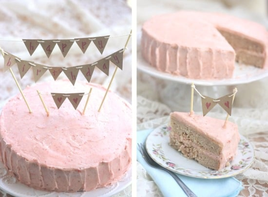 Whole Strawberry birthday cake with strawberry vanilla bean icing and a slice of the cake