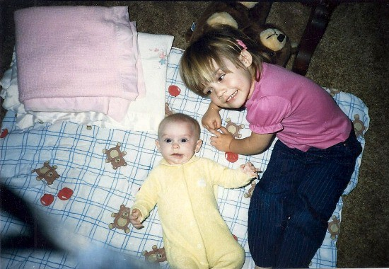 My sister and I as small children