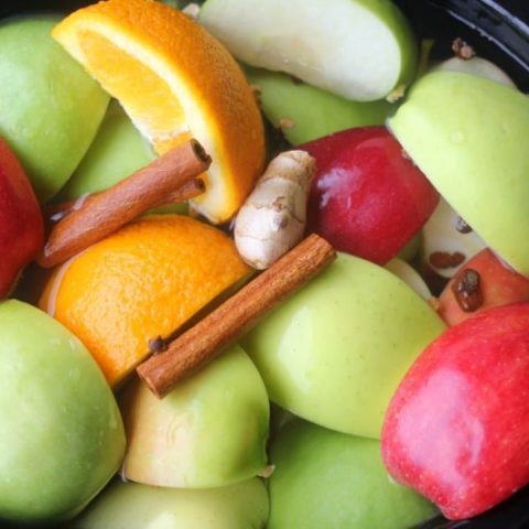 Apple and orange slices, cinnamon stick and other spices in the crockpot before being cooked
