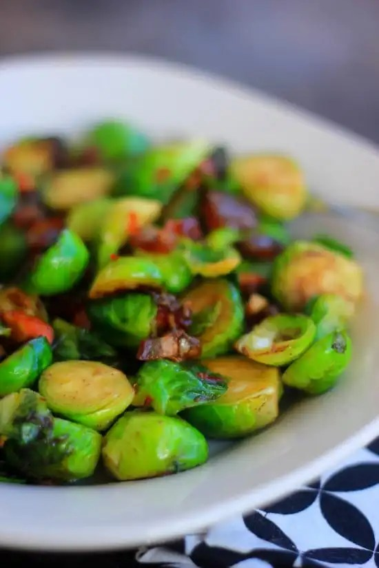 Roasted Brussel Sprouts with Dates and Almonds