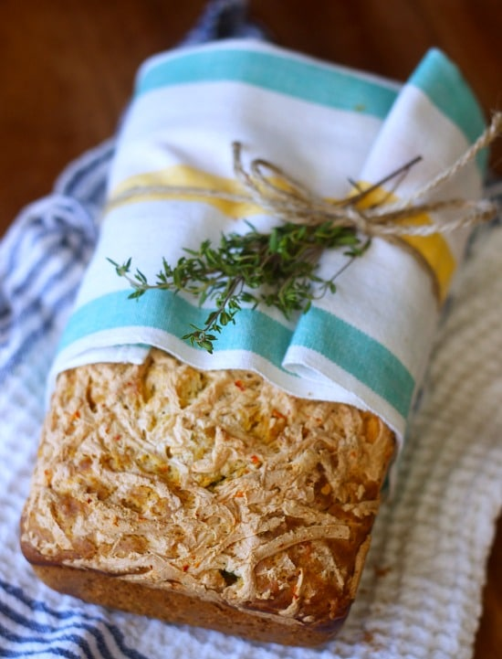 Cheddar Jalapeno Thyme Quick Bread wrapped in a cloth