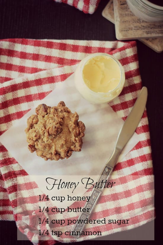 Apple Streusel Muffin with a side of honey butter