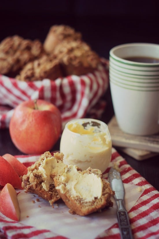 Apple Streusel Muffin slathered with honey butter