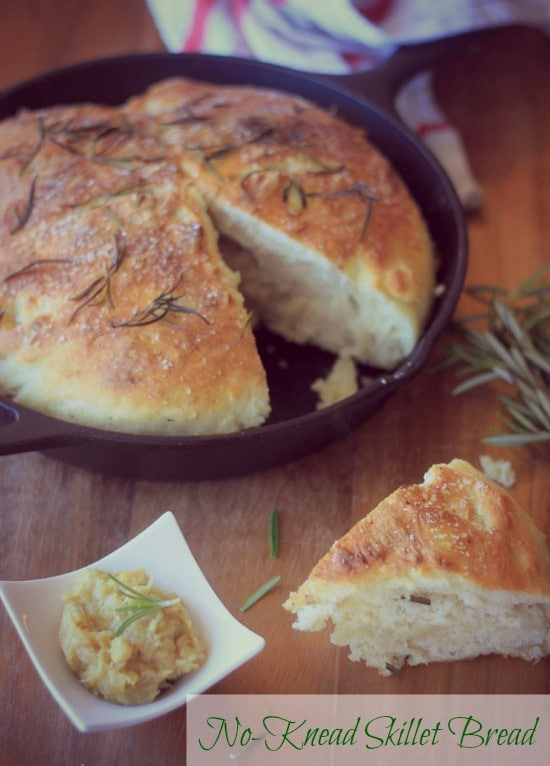 No-Knead Skillet Bread slice with a side of garlic puree