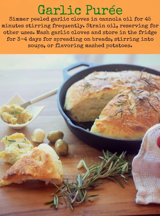 No-Knead Skillet Bread with garlic puree
