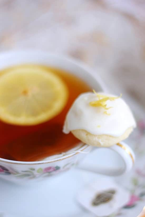Lemon Goat Cheese Cookie on the rim of a cup of tea