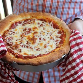 Chicago Deep Dish Pizza hot out of the oven
