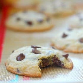 Chocolate Chip Cookies with a bite taken out