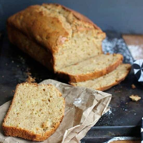 Sweet quick bread loaf sliced up