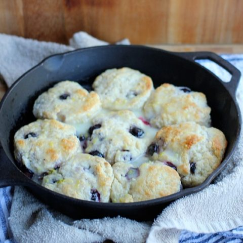 Buttermilk Blueberry Biscuits with Lemon Glaze