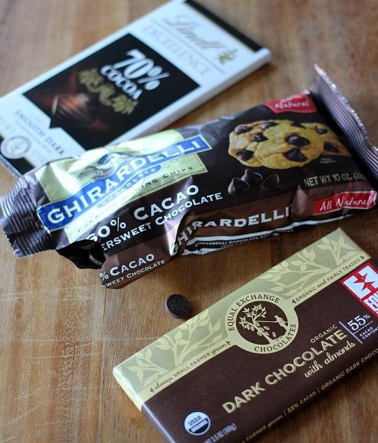 Variety of chocolate, ghiradelli chocoalte chips, 70% dark chocolate bar, and 55% dark chocolate bar