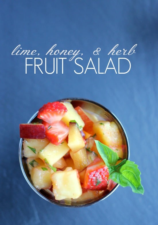 Cut up fruit in a dish with Herbs in a Lime and Honey sauce
