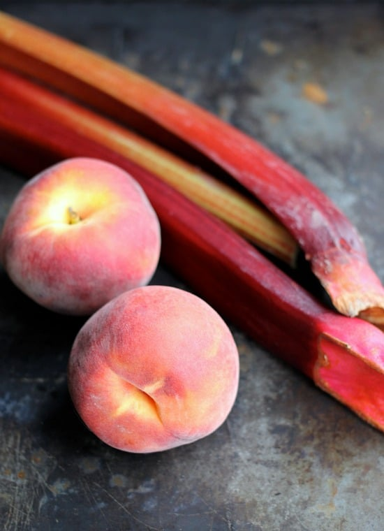 Whole peaches and rhubarb