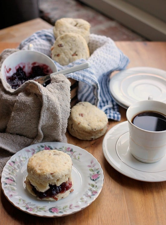 Buttermilk Bacon Biscuits with Blackberry Jam and a cup of coffee