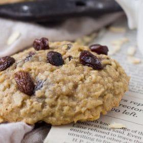 An upclose shot of an Oatmeal Raisin Cookie