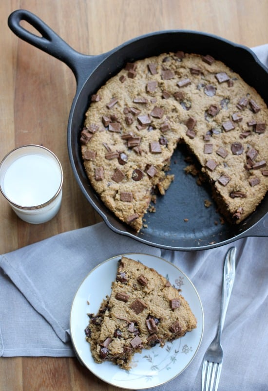 Chocolate Chip Peanut Butter Skillet Cookie slice on a plate
