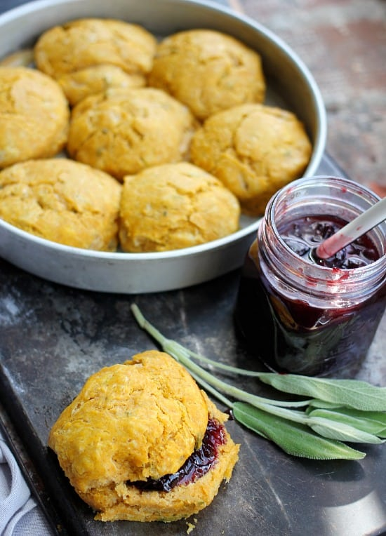 Pumpkin Scones with Sage and Spicy Cherry Jam- Baker Bettie
