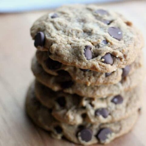 A stack of Vegan Chocolate Chip Cookies