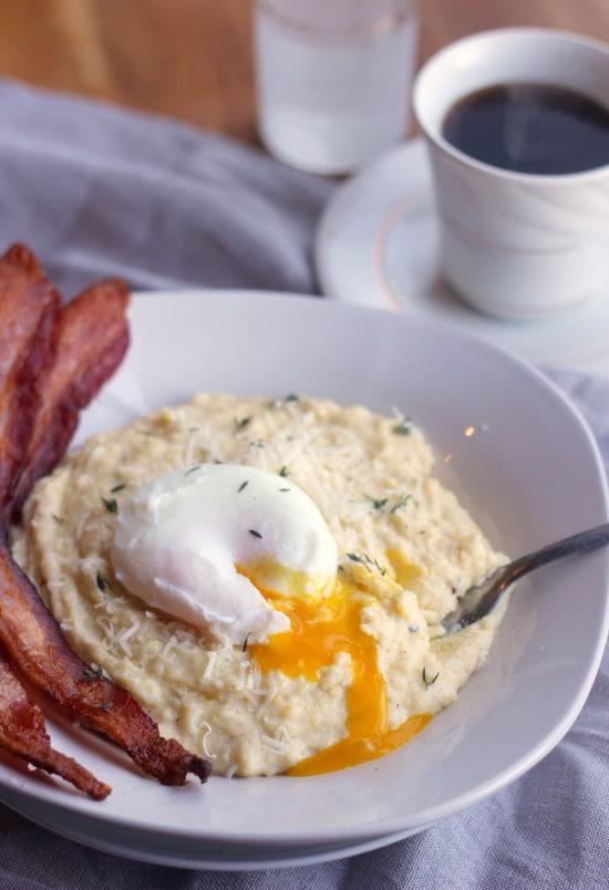 Creamy Breakfast Polenta with Poached Eggs- Baker Bettie