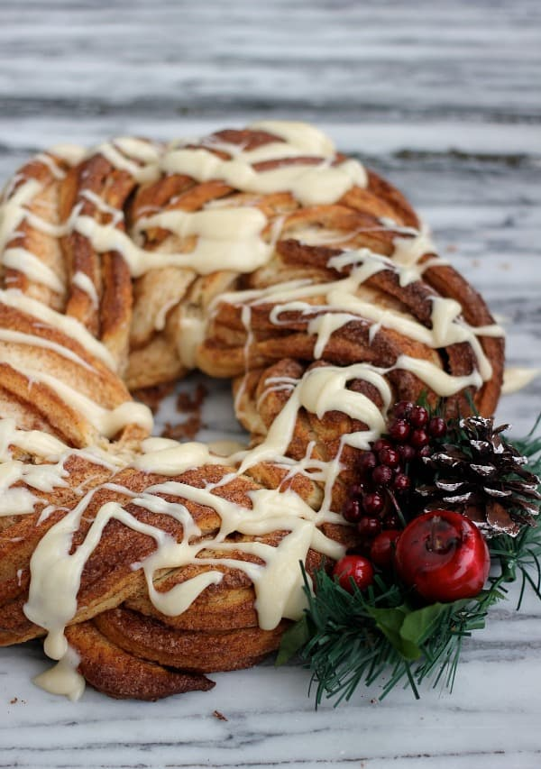 Cinnamon Roll Wreath with glaze over the top