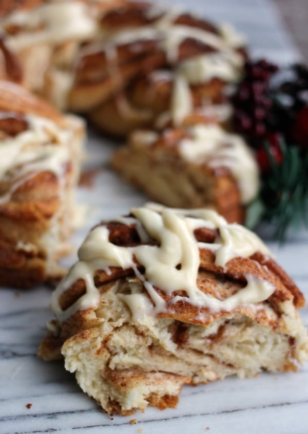 A slice of the cinnamon roll wreath