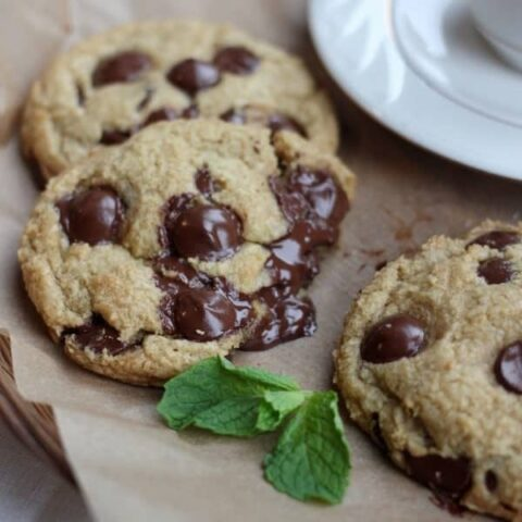 Fresh Mint Chocolate Chip Cookies with a bite taken out