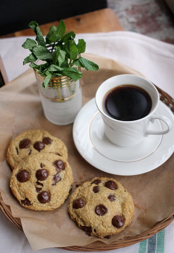 Fresh Mint Chocolate Chip Cookies with a cup of coffee