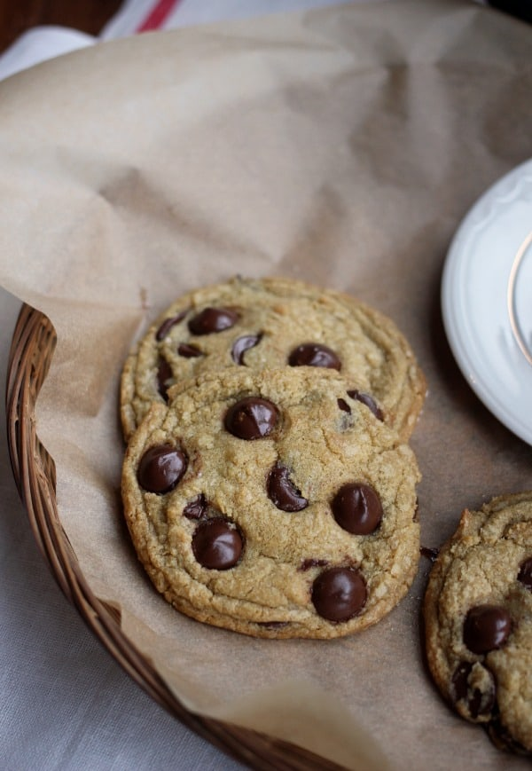 Fresh Mint Chocolate Chip Cookies on a platter