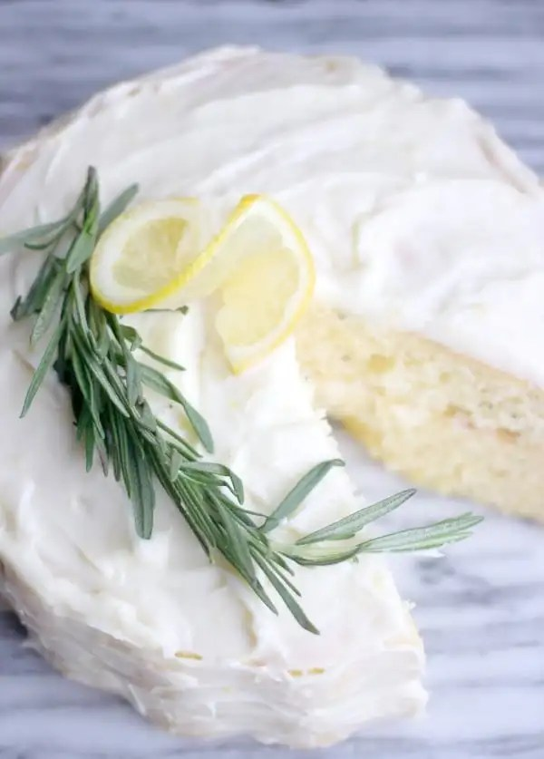 Fluffy Lemon-Rosemary Cake with Lemon Cream Cheese Frosting- Baker Bettie