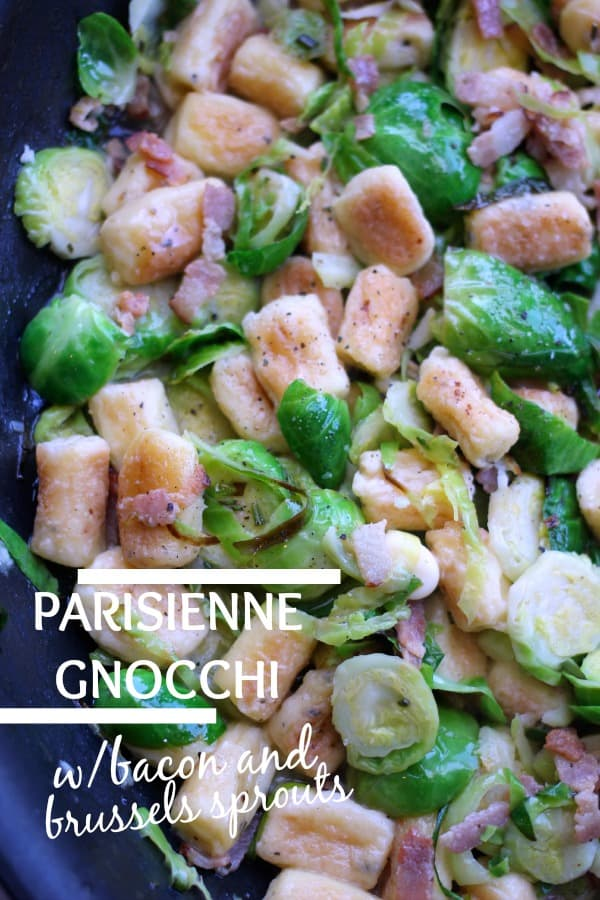 Parisienne Herb Gnocchi with Bacon and Brussels Sprouts in a pan