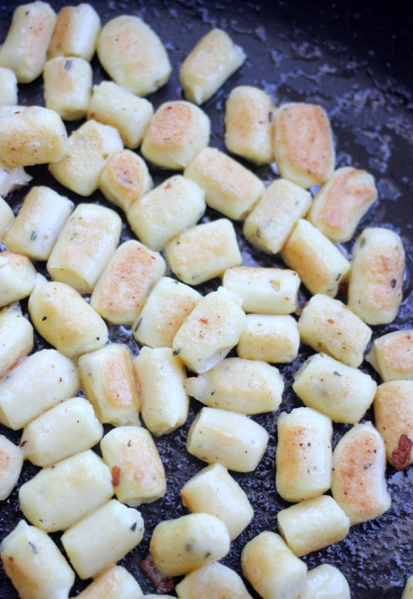 Parisienne Herb Gnocchi being pan fried