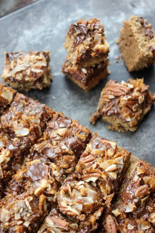 Dark Chocolate Magic Bars with Whiskey Caramel Sauce cut into squares