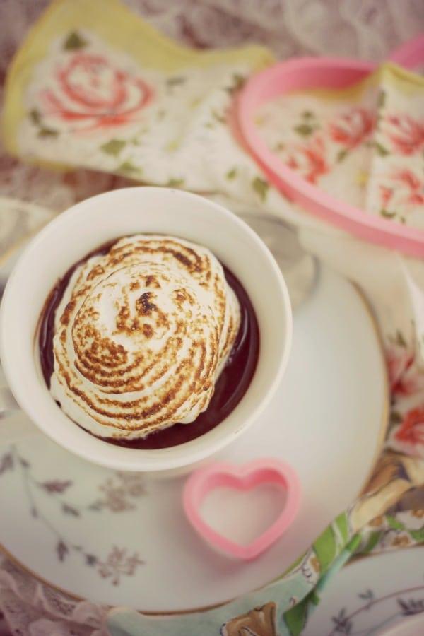 Dark Chocolate Custard with Simple Meringue- Baker Bettie
