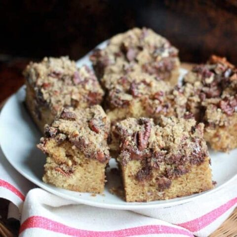 Espresso, Pecan, and Dark Chocolate Coffee Cake cut into squares