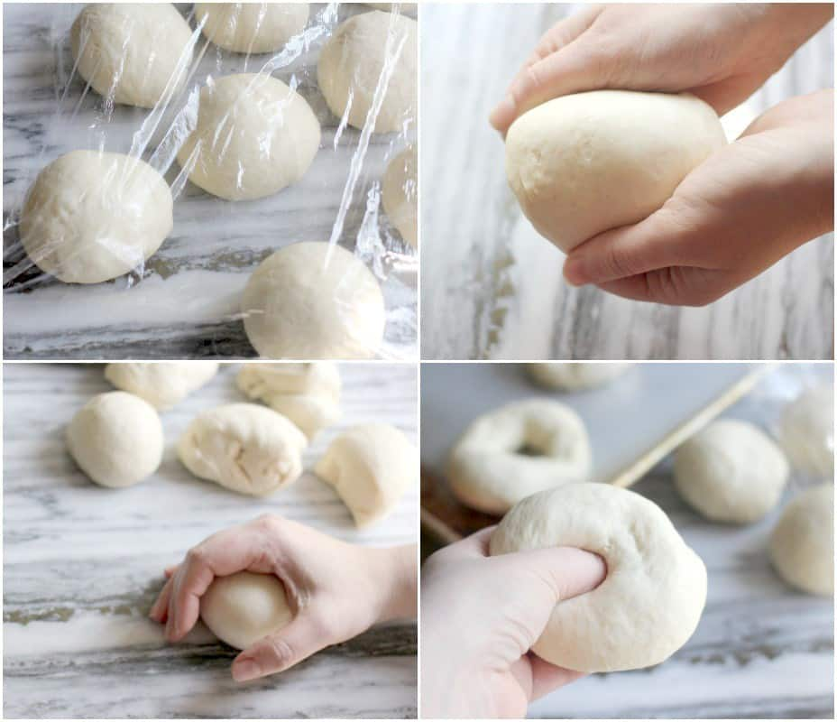 Top left: dough balls under plastic wrap, top right: shaping the dough ball, bottom left: rounding out dough ball on the counter, bottom right: creating hole in center of dough ball
