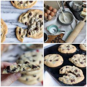 Top left: thin and crispy chocolate chip cookies. Top right: raw ingredients spread out. Bottom left: thick and cakey chocolate chip cookies. Bottom right: soft and chewy chocolate chip cookies.