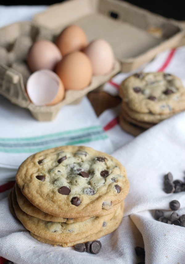 Soft and Chewy Chocolate Chip Cookies stacked up