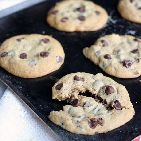 Freshly baked chocolate chip cookies on baking pan