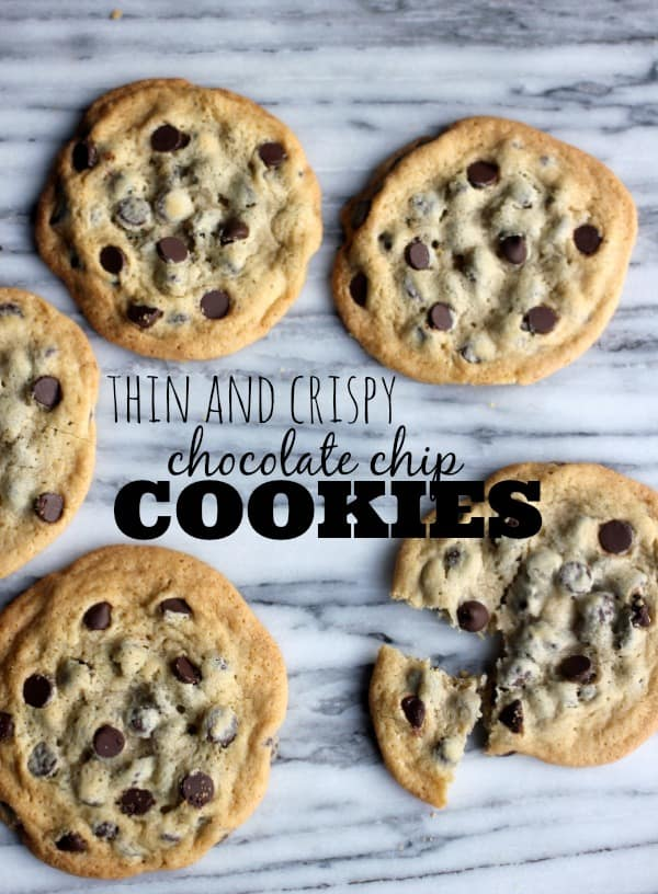 Thin and Crispy Chocolate Chip Cookies on a marble slab